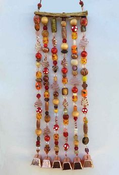 Wind Chime on Cholla Wood Suncatcher by LTreatDesigns on Etsy Clay Pot Crafts, Shell Crafts, Bead Crafts, Jewelry Crafts, Wind Chimes Craft, Glass Wind Chimes, Mobiles, Carillons Diy, Hanging Ornaments