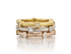 Diamond Sputnick Eternity Bands.  Made in Mill Valley with recycled metal and conflict free diamonds.
