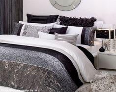 white, black, silver, sequin bedding
