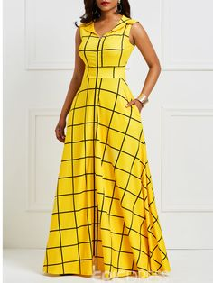 Kinikiss 2019 summer dress women sleeveless plaid twilled satin yellow party dress elegant pocket notched lapel blue dress long – T S F African Fashion Designers, African Print Fashion, African Fashion Dresses, Africa Fashion, Fashion Outfits, Plaid Fashion, Fashion Hacks, Fashion Ideas, Women's Fashion