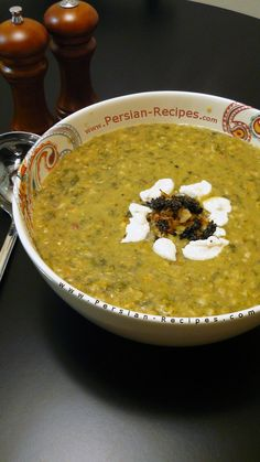 Aash-e Jo (Persian Barley & Bean Soup). 250g pearl barley, 200g chopped herbs (parsley, chives, spinach, coriander, dill) If using dry dill use 1tbsp. 750g soaked/canned beans mix (chickpeas, white, kidney,lentils). 1 cup washed rice, 5tbsp fried onion, 3 – 4 cups yogurt (Kashk), salt and pepper, 1tbsp turmeric. Saute onions, add tumeric & beans. add 5 cups water & cook for 30 mins. Add chopped herbs, season & simmer for 2 hrs. add yogurt & stir. Decorate with yogurt & fried onions+mint.