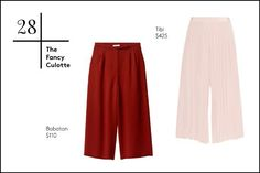 30 Essentials For Fancy Spring Parties  #refinery29  http://www.refinery29.com/spring-formal-clothes#slide-28  28. The Fancy CulotteWhether it's pleats or a rich color your after, culottes are great alternative if you don't feel like changing into a glitzy dress for that after-work soiree.