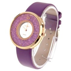 WS Diamond Encrusted Dial Sport Casual Women Quartz Watch with Leather Band(Red) Ibiza, Refurbished Iphones, Sport Casual, Quartz Watch, Watches, Band, Diamond, Purple, Leather