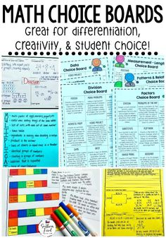 Are you looking for a way to bring differentiation, creativity, and student choice to your math classroom? These Math Choice Boards are just what you're looking for! Your students will LOVE to be able to choose how they show what they've learned. This includes an editable choice board where you can create your own choice board. #math #choiceboards #mathchoiceboards #studentchoice #differentiation #iteachmath #iteachthird #iteachfourth #iteachfifth