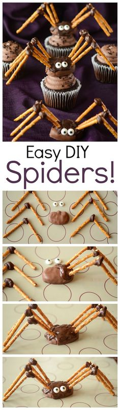 DIY Pretzel Chocolate Spiders! Halloween Pretzels, Fete Halloween, Halloween Dinner, Halloween Food For Party, Halloween Desserts, Halloween Cupcakes, Scary Halloween, Halloween Treats, Halloween Foods