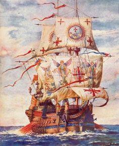 La nave de D. Álvaro de Bazán y Guzmán, primer Marqués de Santa Cruz. La nave almirante de España. Galeón San Martín en la Batalla de las Azores.