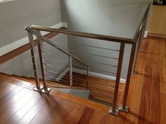 From our friends at Artistic Southern, an action shot of our stainless steel square posts with our cable railing system Stainless Steel Staircase, Stainless Steel Cable Railing, Stainless Steel Wire, Interior Railings, Interior And Exterior, Interior Design, Cable Railing Systems, Stair Railing Design, Modern Stairs