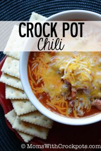 Crock Pot Chili — Moms with Crockpots...made this with leftover spaghetti sauce I had in the freezer (Tightwad Gazette's recipe). Subbed about 3 cups sauce for the tomatoes.
