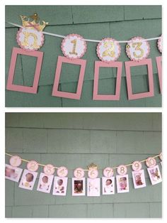 Graduation Poster Ideas Discover Princess Photo Banner in pink and gold. First Birthday Garland. 12 month photo banner princess theme newborn by ThePinkPapermill Birthday Picture Banner, Birthday Garland, Gold Birthday, Girl First Birthday, Birthday Pictures, Diy Birthday, First Birthday Parties, Birthday Decorations, Birthday Ideas