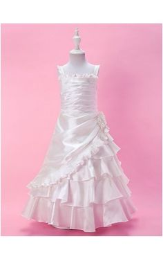 A-line Floor-length Taffeta Flower Girl Dress With Straps