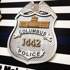 "FBI NA 19/"" x 37/"" -FREE SHIP American Flag Wood Blue Line Law Enforcement"