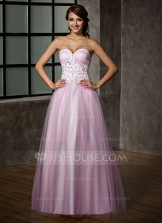 953cc7acc42 A-Line Princess Sweetheart Floor-Length Satin Tulle Prom Dress With Lace -  DressFirst en