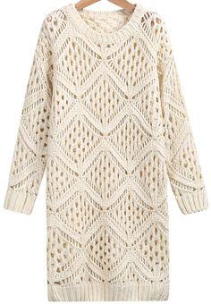 Beige Grid Knit Sweater