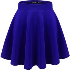 Thanth Womens Versatile Stretchy Pleated Flare Skater Skirt ($14) ❤ liked on Polyvore featuring skirts, stretch skirts, blue flared skirt, blue skirt, blue pleated skirt and blue circle skirt