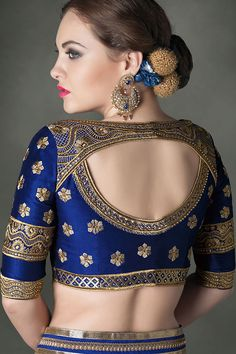 royal blue bridal saree - Google Search                                                                                                                                                      More