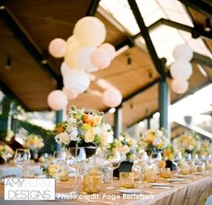 A full view of the kings table with the lanterns above. So pretty! #rustic Location Thomas Fogarty Winery
