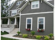 Exterior House Colors Grey. I would like the grey, white trim but with a navy metal roof!