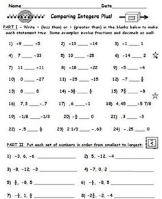 Integers Comparing With Greater Than Less Than Plus Two Full Worksheets Comparing Integers And Some Deci Integers Worksheet Integers Fractions Worksheets