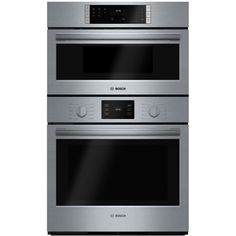 "Bosch - 500 Series 29.7"" Single Electric Convection Wall Oven with Built-In Microwave - Stainless steel - Front_Zoom"