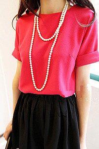 Chiffon short-sleeved shirt women