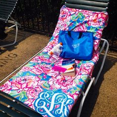Poolside Lilly Pulitzer custom monogram towel in Lucky Charms