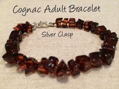 Polished Cognac Silver Clasp Baltic Amber Bracelet for Big Kid, Child, or Adult