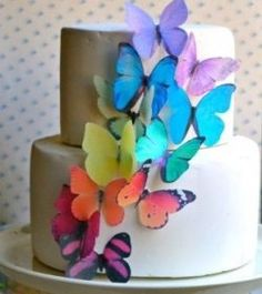 Edible Butterflies © -Large Rainbow Variety Set of 12 - Cake and Cupcake Toppers, Decoration Sugar Robot Inc. Butterfly Birthday Cakes, Butterfly Party, Butterfly Cakes, Rainbow Butterfly, Paper Butterflies, Butterfly Wedding Cake, Butterfly Kisses, Wedding Cake Toppers, Cupcake Toppers