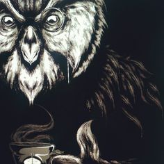 Owl, monacle, tea. Done with this for tonight
