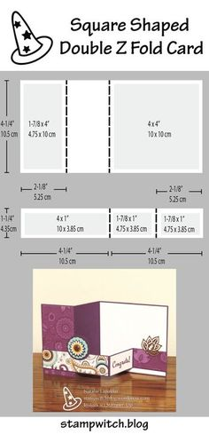 Square shaped double Z fold card, designed by Natalie Lapakko with stamps and papers by Stampin' Up!