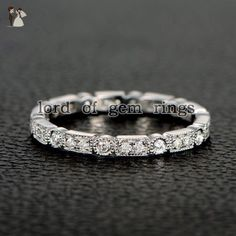 Pave Full Cut Diamond Wedding Band Eternity Anniversary Ring 14K White Gold Art Deco Antique - Wedding and engagement rings (*Amazon Partner-Link)