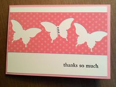 Stampin' Up Butterfly punch, Pretty in Pink CS, Regal Rose DSP