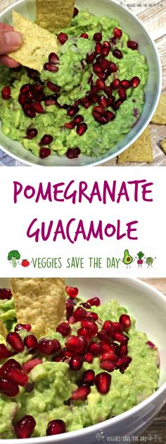 Pomegranate guacamole is a new twist on an old classic. I love the festive color…