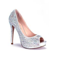 Lauren Lorraine Silver Candy Candy Peep-Toe Pump - Women's ($119) ❤ liked on Polyvore featuring shoes, pumps, silver candy, evening wear shoes, silver pumps, silver peep toe shoes, peep-toe pumps and silver shoes