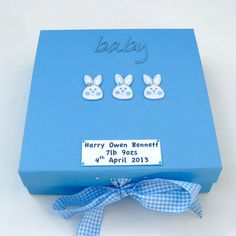 New Baby Boy Keepsake Box  Bunnies by dottiedesignsxx on Etsy, £14.95 #craftyfolk