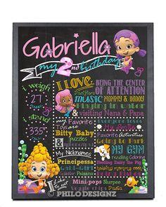 Bubble Guppies Birthday Chalkboard Poster/ First Birthday Chalkboard Sign by PhiloDesignz on Etsy
