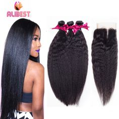 7A Brazilian Kinky Straight Hair with Closure Yaki Straight Hair Weave Coarse Yaki Human Hair Brazilian Virgin Hair with Closure *** To view further for this item, visit the image link.