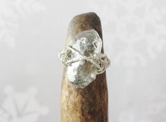 $35 ~ Herkimer Diamond Ring ~ Minimalist Promise Ring ~ April Birthstone, Unique Engagement Ring, Sterling Silver Wire Wrapped Raw Stone Jewellery ~ Use discount code PIN10 for 10% off in my Etsy shop