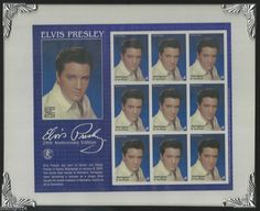 Elvis Presley 25th Anniv Ed. $1 Antigua Stamps Framed