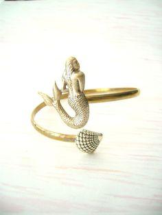 mermaid bracelet with a shell wrap mermaid jewelery by stavri, $26.00