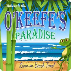 Personalized Beach Welcome Sign with Waving Frog and Crashing Ocean Waves