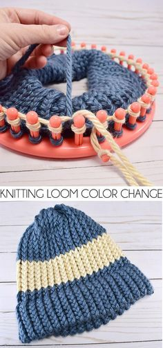Want to mix it up and add in a new color yarn on your knitting loom but don't know how? This is a super simple tutorial for how to change colors on a knitting loom. Knitting How to Change Colors on a Knitting Loom Round Loom Knitting, Loom Knitting Stitches, Knifty Knitter, Loom Knitting Projects, Yarn Projects, Free Knitting, Knitting Tutorials, Knitting Machine, Sock Knitting