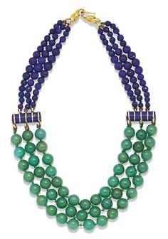 COLLIER CHRYSOPRASE ET LAPIS LAZULI, PAR SUZANNE BELPERRON | 1950s, Jewelry | Christie's