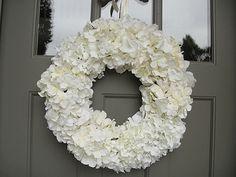White Silk Hydrangea Wreath For Wedding Bridal by donnahubbard, $145.00