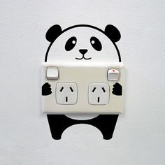 "Universe of goods - Buy "" Cute Panda Art Switch Sticker Living room Bedroom Decorative Wall Stickers Vinyl Waterproof Murals for only USD. Creative Wall Painting, Wall Painting Decor, Creative Walls, Painting Tips, Creative Art, Creative Ideas, Painting Doors, Painting Techniques, 31 Ideas"