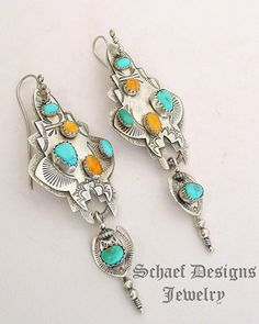 TA Orange Spiny Oyster Blue Turquoise & Sterling Silver Wire earrings | Schaef Designs | New Mexico