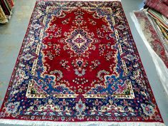 Persian Rug - 1980s Vintage, Hand-Knotted, Yazd Rug (3244) by carpetshopprincess on Etsy