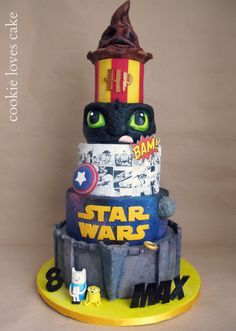 All I like cake! Adventure time, Lord of the Rings, Star Wars, Marvel, How to train your dragon, Harry Potter.