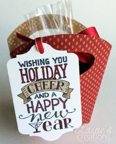 Elaine's Creations: Simple Holiday Tag with Fry Box Basket