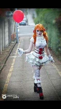 My Lolita inspired Pennywise cosplay! Cosplay designed and done by me: JinxKittie on Patreon PENNYWISE COSPLAY 2017 Halloween Costumes, Halloween Cosplay, Diy Costumes, Costumes For Women, Halloween Makeup, Funny Halloween, Spirit Halloween, Halloween Kids, Halloween Season