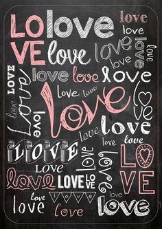 Poster Fofo tipo Lousa - Love, Love, Love...- Sabrina Matias